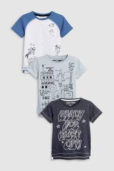 Short Sleeve Space T-Shirts Three Pack (3mths-6yrs)