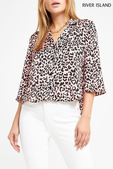 River Island Pink Heart Leopard Crop Top