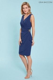 Gina Bacconi Blue Terri Stretch Crepe Wrap Dress