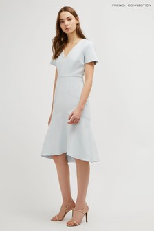 French Connection Blue Glass Stretch V-Neck Dress