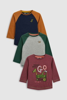 Digger Long Sleeve Tops Three Pack (3mths-6yrs)