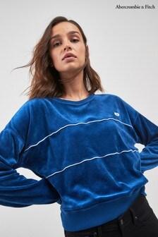 Jersey deportivo en azul de velour de Abercrombie & Fitch