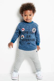 Футболка с надписью «Adventure» и спортивные брюки (комплект) (3 мес.-6 лет)