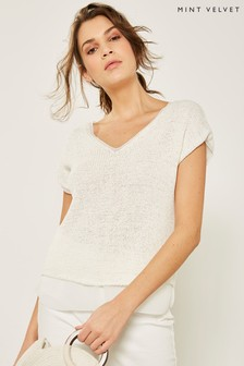 Mint Velvet White Ivory Tape Yarn Sleeveless Tee