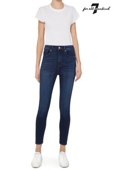 7 For All Mankind Blue Aubrey High Waist Skinny Jeans