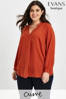 Evans Orange Linen Look Shirt