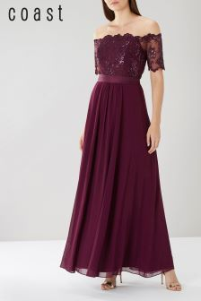 Coast Burgundy Maddie Embroidered Maxi Dress