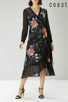 Coast Black Moira Jacquard Wrap Dress
