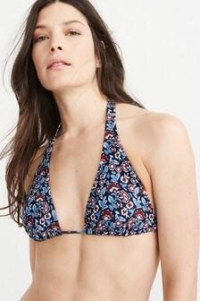 Abercrombie & Fitch Bikinioberteil mit floralem Muster, marineblau