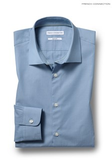 French Connection Slim Fit Blue Single Cuff Chambray Shirt