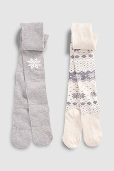 Fairisle Pattern Snowflake Tights Two Pack (Older)
