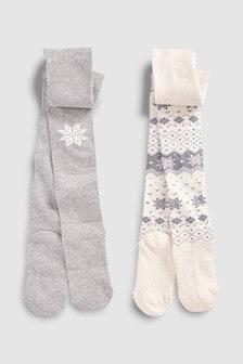 Fairisle Pattern Snowflake Tights Two Pack (Older)