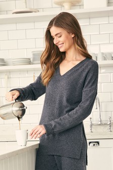 V-Neck Jumper With Cashmere
