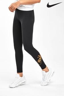 Nike Black Glitter Logo Leggings