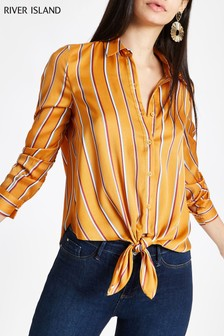River Island Yellow Stripe Tie Front Shirt