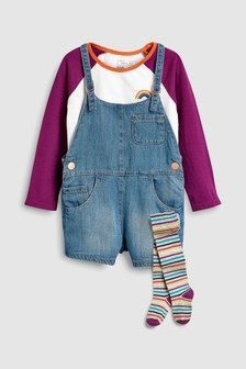 Denim Dungarees With T-Shirt And Tights (3mths-6yrs)