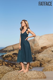 FatFace Green Copper And Black Betsy Linen Blend Dress