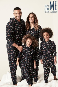 Mens Moose Print Christmas All-In-One