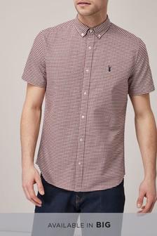 Burgundy/White                     Short Sleeve Gingham Shirt