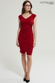 Czerwona sukienka z raglanowymi rękawami i marszczeniem po boku HotSquash®