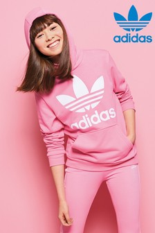 Sweat à capuche adidas Originals rose avec logo trèfle