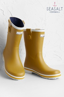Seasalt Yellow Deck Wellies Pear