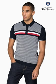 Ben Sherman Blue Textured Stripe Knitted Polo