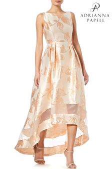 Adrianna Papell Orange High Low Jacquard Dress