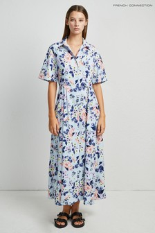 French Connection Blue Cerisier Crepe Shirt Dress