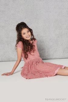 Розовое кружевное платье Angel & Rocket