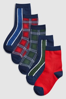 Набор носков в шотландскую клетку и полоску (5 пар) (Подростки)