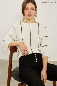 Mint Velvet White Ivory Kimono Sleeve Jumper