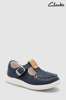 Clarks Navy Spot Cloud Rosa T-Bar First Shoe