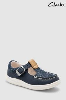 Clarks Cloud Rosa Erste Schuhe mit T-Steg und Punkten, Marineblau