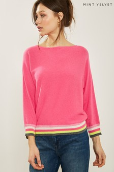 Mint Velvet Pink Stripe Hem/Cuff Batwing Top