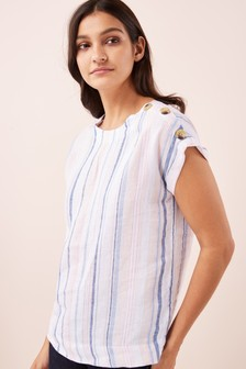 Linen Button T-Shirt