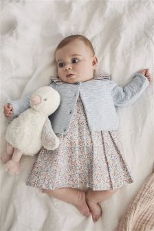 Printed Prom Dress And Cardi Set (0mths-2yrs)
