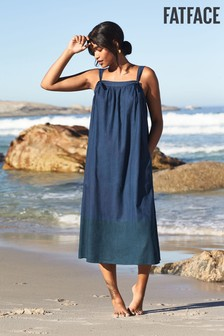 FatFace Blue Copper And Black Lacey Linen Blend Dress