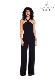 Adrianna Papell Black Foil Jersey Jumpsuit