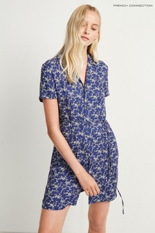 French Connection Blue Cerisier Rayon Short Dress