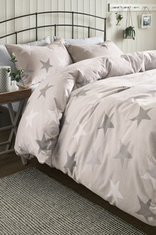Brushed Cotton Knitted Stars Duvet Cover And Pillowcase Set