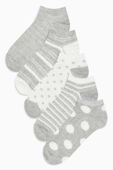 Spot/Stripe Pattern Trainer Socks Five Pack