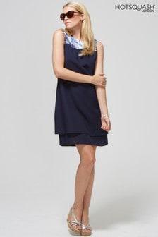 HotSquash Navy Chiffon Double Layered Dress