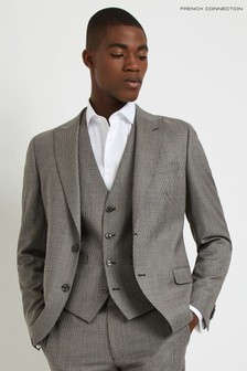 French Connection Slim Fit Light Grey Puppytooth Jacket