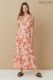 Great Plains Orange Tulum V-Neck Maxi Dress