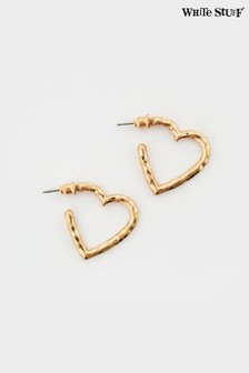 White Stuff Metal Heart Hoop Earrings