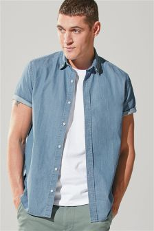 Short Sleeve Stretch Denim Shirt