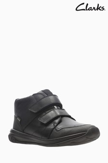 Clarks Kids Black Hula Spin GTX Velcro Trainer Shoe