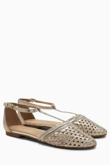 Woven Leather T-Bar Flats