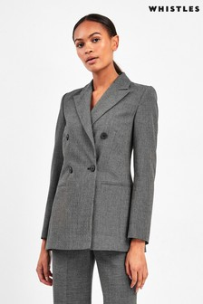 Whistles Grey Aliza Double Breasted Jacket